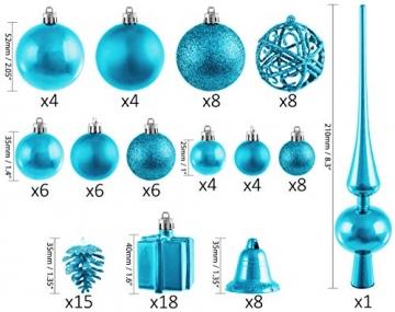 Brubaker 101-teiliges Set Weihnachtskugeln mit Baumspitze Blau Christbaumschmuck - 2