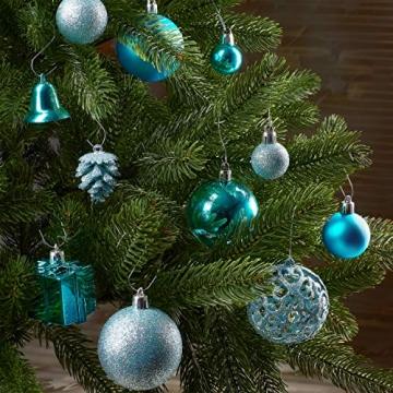 Brubaker 101-teiliges Set Weihnachtskugeln mit Baumspitze Blau Christbaumschmuck - 3
