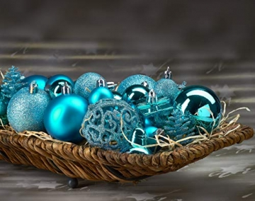 Brubaker 101-teiliges Set Weihnachtskugeln mit Baumspitze Blau Christbaumschmuck - 4