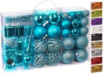 Brubaker 101-teiliges Set Weihnachtskugeln mit Baumspitze Blau Christbaumschmuck - 1