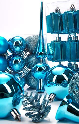Brubaker 101-teiliges Set Weihnachtskugeln mit Baumspitze Blau Christbaumschmuck - 6