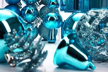 Brubaker 101-teiliges Set Weihnachtskugeln mit Baumspitze Blau Christbaumschmuck - 8