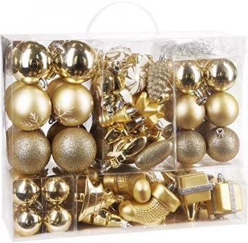 Brubaker 77-teiliges Set Weihnachtskugeln Christbaumschmuck - Kunststoff Gold/Silber - 2