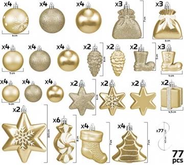 Brubaker 77-teiliges Set Weihnachtskugeln Christbaumschmuck - Kunststoff Gold/Silber - 3
