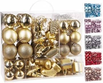 Brubaker 77-teiliges Set Weihnachtskugeln Christbaumschmuck - Kunststoff Gold/Silber - 1