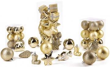 Brubaker 77-teiliges Set Weihnachtskugeln Christbaumschmuck - Kunststoff Gold/Silber - 6