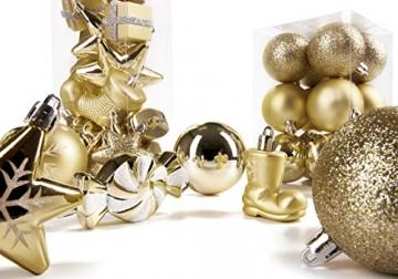 Brubaker 77-teiliges Set Weihnachtskugeln Christbaumschmuck - Kunststoff Gold/Silber - 7