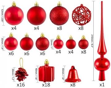 Brubaker Christbaumkugel Set mit Tannenzapfen, Weihnachtsglocken, Geschenken, Christbaumspitze - Christbaumschmuck - 101 Teile - Rot - 2