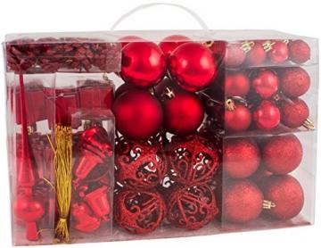 Brubaker Christbaumkugel Set mit Tannenzapfen, Weihnachtsglocken, Geschenken, Christbaumspitze - Christbaumschmuck - 101 Teile - Rot - 3