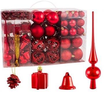 Brubaker Christbaumkugel Set mit Tannenzapfen, Weihnachtsglocken, Geschenken, Christbaumspitze - Christbaumschmuck - 101 Teile - Rot - 1