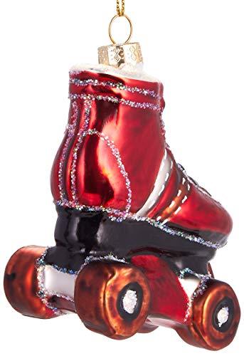 Brubaker Rollschuh Rot - Handbemalte Weihnachtskugel aus Glas - Mundgeblasener Christbaumschmuck Figuren lustig Deko Anhänger Baumkugel - ca. 9 cm - 3