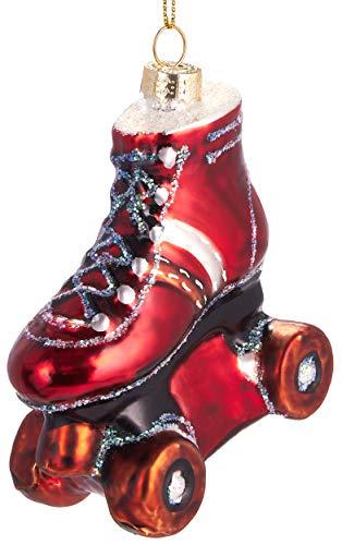 Brubaker Rollschuh Rot - Handbemalte Weihnachtskugel aus Glas - Mundgeblasener Christbaumschmuck Figuren lustig Deko Anhänger Baumkugel - ca. 9 cm - 1