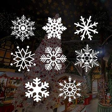 Caiery 185 pcs Schneeflocken Rentier Fensterbild, Statisch Haftende PVC Aufklebe,Winter-deko Weinachts Dekoration, Weihnachten Fenstersticker, Winter Deko Weihnachtsdeko - 2
