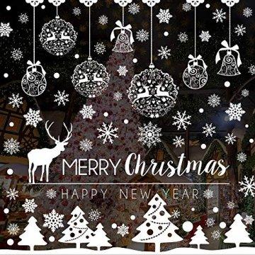Caiery 185 pcs Schneeflocken Rentier Fensterbild, Statisch Haftende PVC Aufklebe,Winter-deko Weinachts Dekoration, Weihnachten Fenstersticker, Winter Deko Weihnachtsdeko - 1