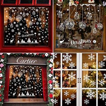 Caiery 185 pcs Schneeflocken Rentier Fensterbild, Statisch Haftende PVC Aufklebe,Winter-deko Weinachts Dekoration, Weihnachten Fenstersticker, Winter Deko Weihnachtsdeko - 5