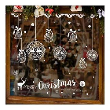 Caiery 185 pcs Schneeflocken Rentier Fensterbild, Statisch Haftende PVC Aufklebe,Winter-deko Weinachts Dekoration, Weihnachten Fenstersticker, Winter Deko Weihnachtsdeko - 6