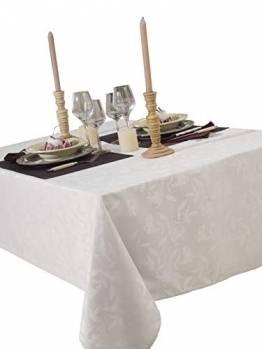 CALITEX Damast-Tischdecke Ombra, 150 x 350 cm, weiß - 1