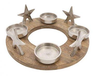 CB Home & Style Adventskranz Kerzenhalter Aluminium Mangoholz Silber Metall Durchmesser 30 cm Weihnachten - 1