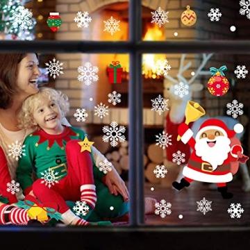 CENXINY Fensterbilder Weihnachten Selbstklebend und Wiederverwendbar, Fensterdeko Weihnachten Fensterfolie aus PVC inkl. 2 Weihnachtliche- & 2 Schneeflockenaufkleber, Elektrostatisches Prinzip - 2