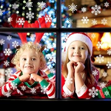 CENXINY Fensterbilder Weihnachten Selbstklebend und Wiederverwendbar, Fensterdeko Weihnachten Fensterfolie aus PVC inkl. 2 Weihnachtliche- & 2 Schneeflockenaufkleber, Elektrostatisches Prinzip - 3