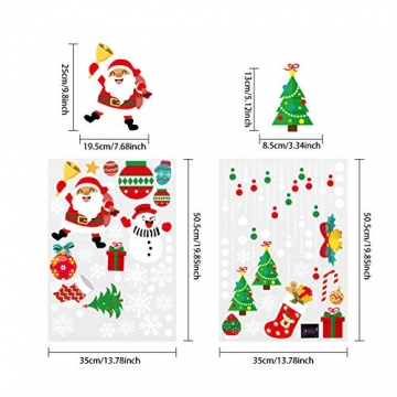 CENXINY Fensterbilder Weihnachten Selbstklebend und Wiederverwendbar, Fensterdeko Weihnachten Fensterfolie aus PVC inkl. 2 Weihnachtliche- & 2 Schneeflockenaufkleber, Elektrostatisches Prinzip - 4