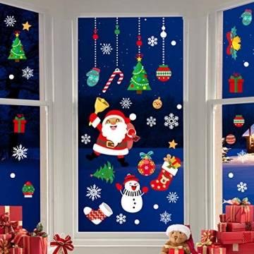 CENXINY Fensterbilder Weihnachten Selbstklebend und Wiederverwendbar, Fensterdeko Weihnachten Fensterfolie aus PVC inkl. 2 Weihnachtliche- & 2 Schneeflockenaufkleber, Elektrostatisches Prinzip - 1