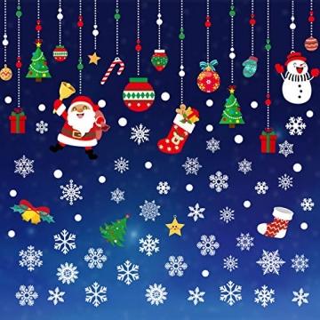 CENXINY Fensterbilder Weihnachten Selbstklebend und Wiederverwendbar, Fensterdeko Weihnachten Fensterfolie aus PVC inkl. 2 Weihnachtliche- & 2 Schneeflockenaufkleber, Elektrostatisches Prinzip - 5