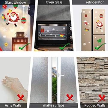 CENXINY Fensterbilder Weihnachten Selbstklebend und Wiederverwendbar, Fensterdeko Weihnachten Fensterfolie aus PVC inkl. 2 Weihnachtliche- & 2 Schneeflockenaufkleber, Elektrostatisches Prinzip - 6
