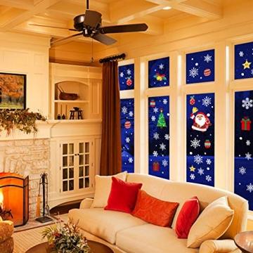 CENXINY Fensterbilder Weihnachten Selbstklebend und Wiederverwendbar, Fensterdeko Weihnachten Fensterfolie aus PVC inkl. 2 Weihnachtliche- & 2 Schneeflockenaufkleber, Elektrostatisches Prinzip - 7