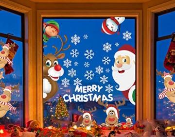 CheChury Fensterbilder für Weihnachten Fensterbilder Winter Statisch Haftende PVC Aufklebe Weihnachtsmann Süße Elche Wiederverwendbar Schneeflocken Fenster - 4