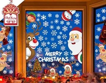 CheChury Fensterbilder für Weihnachten Fensterbilder Winter Statisch Haftende PVC Aufklebe Weihnachtsmann Süße Elche Wiederverwendbar Schneeflocken Fenster - 1