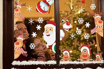 CheChury Fensterbilder für Weihnachten Fensterbilder Winter Statisch Haftende PVC Aufklebe Weihnachtsmann Süße Elche Wiederverwendbar Schneeflocken Fenster - 6