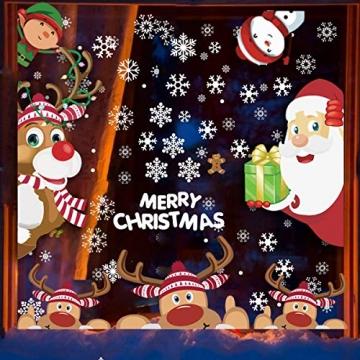 CheChury Fensterbilder für Weihnachten Netter Weihnachtsmann Selbstklebend Fensterdeko Fensterbilder Winter Statisch Haftende Aufkleber Dekoration Elche Wiederverwendbar Schneeflocken Fenster - 2