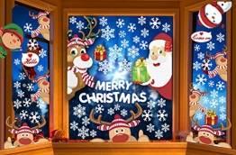CheChury Fensterbilder für Weihnachten Netter Weihnachtsmann Selbstklebend Fensterdeko Fensterbilder Winter Statisch Haftende Aufkleber Dekoration Elche Wiederverwendbar Schneeflocken Fenster - 1