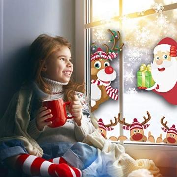 CheChury Fensterbilder für Weihnachten Netter Weihnachtsmann Selbstklebend Fensterdeko Fensterbilder Winter Statisch Haftende Aufkleber Dekoration Elche Wiederverwendbar Schneeflocken Fenster - 6
