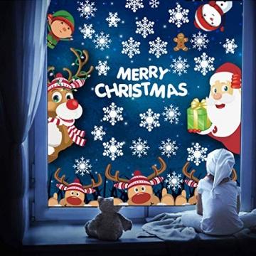 CheChury Fensterbilder für Weihnachten Netter Weihnachtsmann Selbstklebend Fensterdeko Fensterbilder Winter Statisch Haftende Aufkleber Dekoration Elche Wiederverwendbar Schneeflocken Fenster - 7