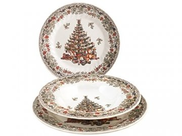 Churchill Season Greetings Tafelservice, Stone Ware, elfenbeinfarben, 18 Stück - 1
