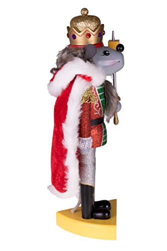 """Clever Creations - Traditioneller Nussknacker Mausekönig - mit Schwert & Käse-Sockel - Glitzer-Design - Festliche Weihnachtsdeko - perfekt für Regale & Tische - Holz - 14"""" (35,6 cm) - 2"""