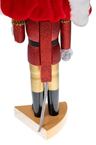 """Clever Creations - Traditioneller Nussknacker Mausekönig - mit Schwert & Käse-Sockel - Glitzer-Design - Festliche Weihnachtsdeko - perfekt für Regale & Tische - Holz - 14"""" (35,6 cm) - 4"""