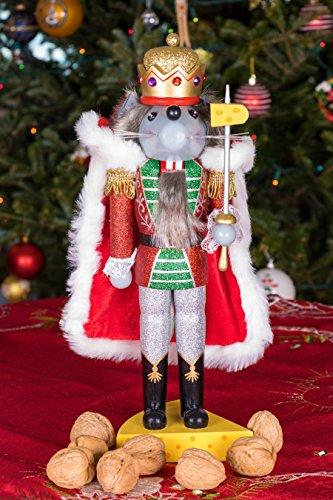 """Clever Creations - Traditioneller Nussknacker Mausekönig - mit Schwert & Käse-Sockel - Glitzer-Design - Festliche Weihnachtsdeko - perfekt für Regale & Tische - Holz - 14"""" (35,6 cm) - 5"""