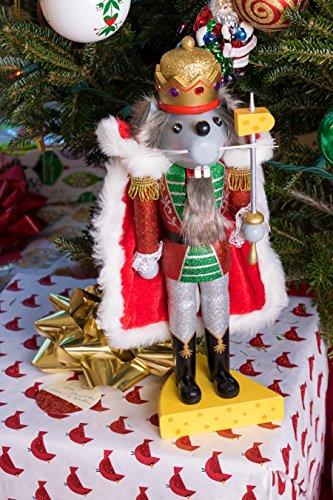 """Clever Creations - Traditioneller Nussknacker Mausekönig - mit Schwert & Käse-Sockel - Glitzer-Design - Festliche Weihnachtsdeko - perfekt für Regale & Tische - Holz - 14"""" (35,6 cm) - 6"""