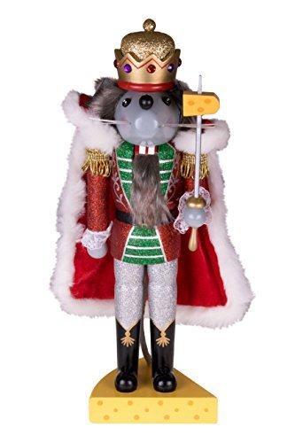 """Clever Creations - Traditioneller Nussknacker Mausekönig - mit Schwert & Käse-Sockel - Glitzer-Design - Festliche Weihnachtsdeko - perfekt für Regale & Tische - Holz - 14"""" (35,6 cm) - 1"""