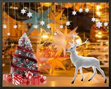 CMTOP Weihnachten Fenstersticker Weihnachtsdeko Fenster Weihnachtsbaum Süße Elche Fensteraufkleber PVC Fensterdeko Selbstklebend für Türen Schaufenster Vitrinen Glasfronten - 2