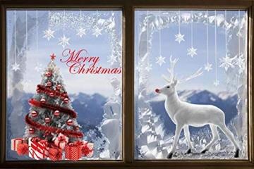 CMTOP Weihnachten Fenstersticker Weihnachtsdeko Fenster Weihnachtsbaum Süße Elche Fensteraufkleber PVC Fensterdeko Selbstklebend für Türen Schaufenster Vitrinen Glasfronten - 4