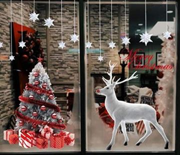 CMTOP Weihnachten Fenstersticker Weihnachtsdeko Fenster Weihnachtsbaum Süße Elche Fensteraufkleber PVC Fensterdeko Selbstklebend für Türen Schaufenster Vitrinen Glasfronten - 5