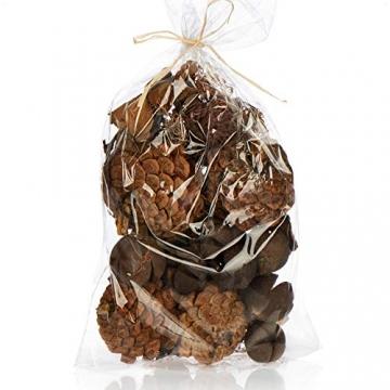 com-four® 3X Weihnachtsdekoration im Beutel mit Zapfen und Zweigen - Streudeko weihnachtlich - Bastel Set - Tischdeko - Adventskranz - Weihnachtsschmuck (3X Beutel: Zapfen braun/weiß. Zweige) - 6