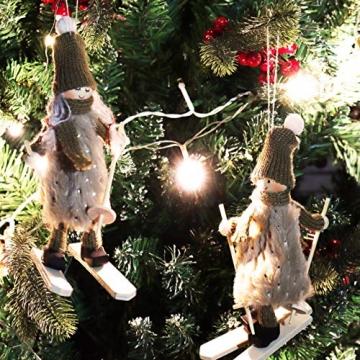com-four® Premium Weihnachts-Figur für die Weihnachtsdeko, Skifahrer-Figuren als winterlicher Dekoartikel, Raumschmuck oder Geschenk (2 Stück - Skifahrerpaar) - 2