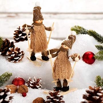 com-four® Premium Weihnachts-Figur für die Weihnachtsdeko, Skifahrer-Figuren als winterlicher Dekoartikel, Raumschmuck oder Geschenk (2 Stück - Skifahrerpaar) - 3
