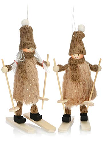 com-four® Premium Weihnachts-Figur für die Weihnachtsdeko, Skifahrer-Figuren als winterlicher Dekoartikel, Raumschmuck oder Geschenk (2 Stück - Skifahrerpaar) - 1