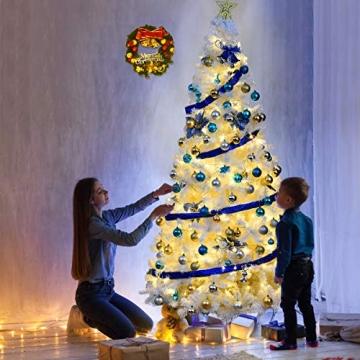 COSTWAY 150/180/210/240cm Künstlicher Weihnachtsbaum, Tannenbaum mit Metallständer, Christbaum PVC Nadeln, Kunstbaum Weihnachten ideal für Zuhause, Büro, Geschäfte und Hotels, Weiß (240cm) - 2